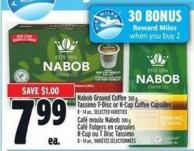 Nabob Ground Coffee 300 G - Tassimo T-disc Or K-cup Coffee Capsules