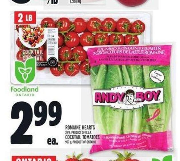 Romaine Hearts 3 Pk - Product Of U.S.A. Cocktail Tomatoes 907 g - Product Of Ontario