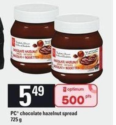 PC Chocolate Hazelnut Spread - 725 g