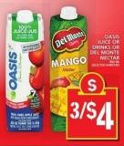 Oasis Juice Or Drinks Or Del Monte Nectar 960 Ml