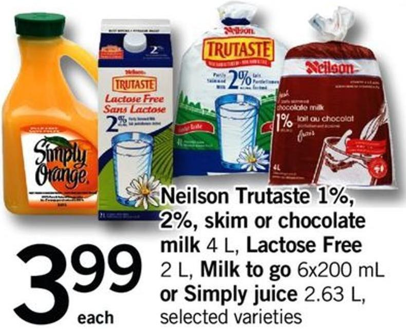 Neilson Trutaste 1% - 2% - Skim Or Chocolate Milk - 4 L - Lactose Free - 2 L - Milk To Go - 6x200 Ml Or Simply Juice - 2.63 L