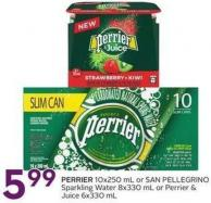 Perrier 10x250 mL or San Pellegrino Sparkling Water 8x330 mL or Perrier & Juice 6x330 mL