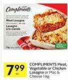 Compliments Meat - Vegetable or Chicken Lasagna or Mac & Cheese 1 Kg