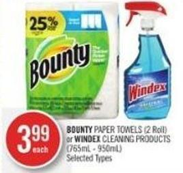 Bounty Paper Towels (2 Roll) or Windex Cleaning Products (765ml - 950ml)