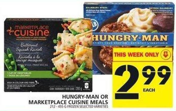 Hungry-man Or Marketplace Cuisine Meals