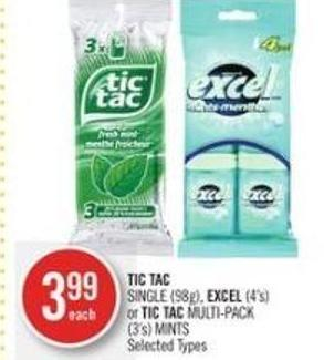 Tic Tac Single (98g) - Excel (4's) or Tic Tac Multi-pack (3's) Mints