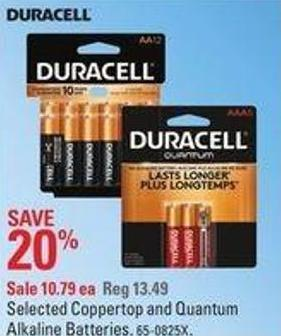 Selected Coppertop and Quantum Alkaline Batteries