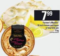 Farmer's Market 10 Inch Lemon Meringue Or Key Lime Pie 1 Kg