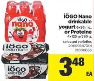 IOGO Nano Drinkable Yogurt - 6x93 mL - or Proteine - 4x125 G/585 g