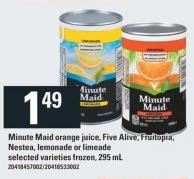 Minute Maid Orange Juice - Five Alive - Fruitopia - Nestea - Lemonade Or Limeade - 295 Ml