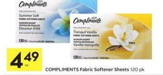 Compliments Fabric Softener Sheets