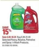 Selected Fleecy - Resolve - Palmolive and Spray 'N Wash Products