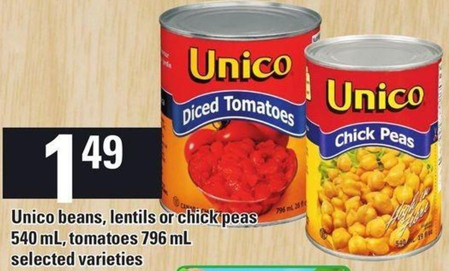 Unico Beans - Lentils Or Chick Peas 540 Ml - Tomatoes 796 Ml
