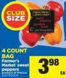 Farmer's Market Sweet Peppers - 4 Count Bag