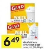 Glad Waste or Kitchen Bags Selected 30-48 Pk