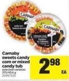 Carnaby Sweets Candy Corn Or Mixed Candy Tub - 375/454 g