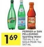 Perrier or San Pellegrino Sparkling Water 750 Ml-1 L or Gold Peak Tea 547 mL