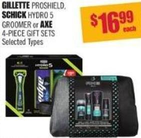Gillette Proshield - Schick Hydro 5 Groomer or Axe 4-piece Gift Sets