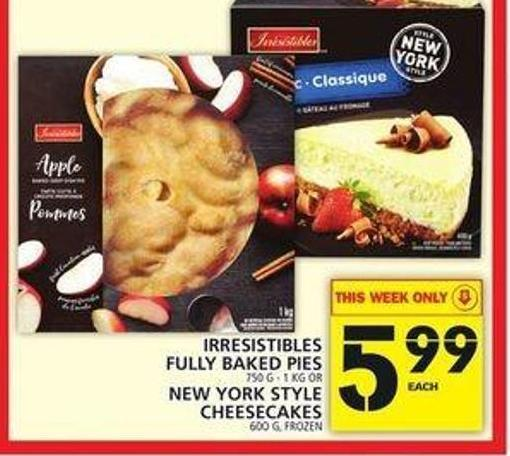 Irresistibles Fully Baked Pies Or New York Style Cheesecakes