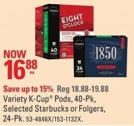 Keurig Variety K-cup Pods - 40-pk - Selected Starbucks or Folgers - 24-pk