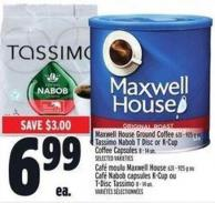 Maxwell House Ground Coffee 631 - 925 g Or Tassimo Nabob T Disc Or K-cup Coffee Capsules 8 - 14 Un