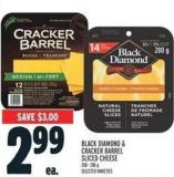 Black Diamond & Cracker Barrel Sliced Cheese 200 - 280 g