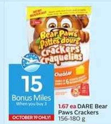 Dare Bear Paws Crackers - 15 Air Miles Bonus Miles