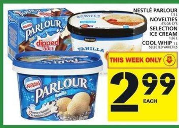 Nestlé Parlour Or Novelties Or Selection Ice Cream Or Cool Whip
