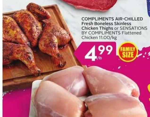 Compliments Air-chilled Fresh Boneless Skinless Chicken Thighs