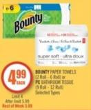 Bounty Paper Towels (2 Roll - 6 Roll) or PC Bathroom Tissue (9 Roll - 12 Roll)