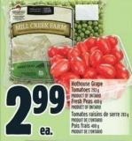 Hothouse Grape Tomatoes 283 G Product Of Ontario Fresh Peas 400 G Product Of Ontario