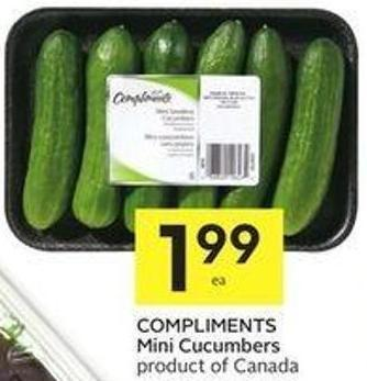 Compliments Mini Cucumbers Product of Canada