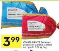 Compliments Potatoes Product of Canada - Canada No 1 Grade 2.27 Kg Bag