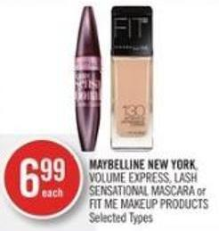 Maybelline New York - Volume Express - Lash Sensational Mascara or Fit Me Makeup Products