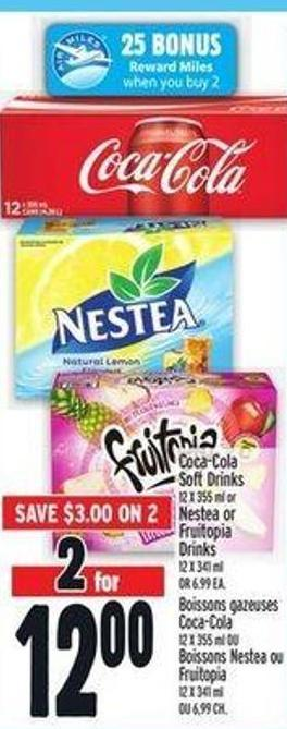 Coca-cola Soft Drinks 12 X 355 ml or Nestea or Fruitopia Drinks 12 X 341 ml