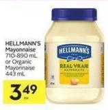 Hellmann's Mayonnaise 710 - 890 mL or Organic Mayonnaise 443 mL