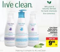 Live Clean Baby Lotion - Bath Wash Or Shampoo - 750 Ml