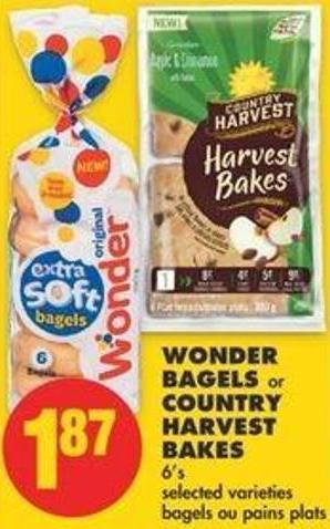 Wonder Bagels Or Country Harvest Bakes - 6's