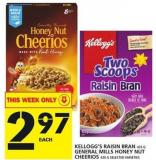 Kellogg's Raisin Bran Or General Mills Honey Nut Cheerios
