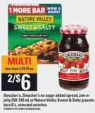Smucker's - Smucker's No Sugar Added Spread - Jam Or Jelly - 250-310 Ml Or Nature Valley Sweet & Salty Granola Bars - 6's