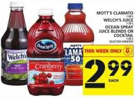 Mott's Clamato Or Welch's Juice Or Ocean Spray Juice Blends Or Cocktail