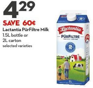 Lactantia Pūrfiltre Milk 1.5l Bottle or  2l Carton
