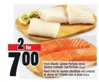 Fresh Atlantic Salmon Portions Skin On - Skinless Icelandic Cod Portions
