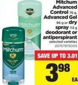 Mitchum Advanced Control - 76 G - Advanced Gel - 96 G Or Dry Spray - 113 G Deodorant Or Antiperspirant