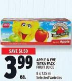 Apple & Eve Tetra Pack Fruit Juice 8 X 125 ml