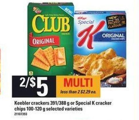 Keebler Crackers - 391/388 g or Special K Cracker Chips - 100-120 g