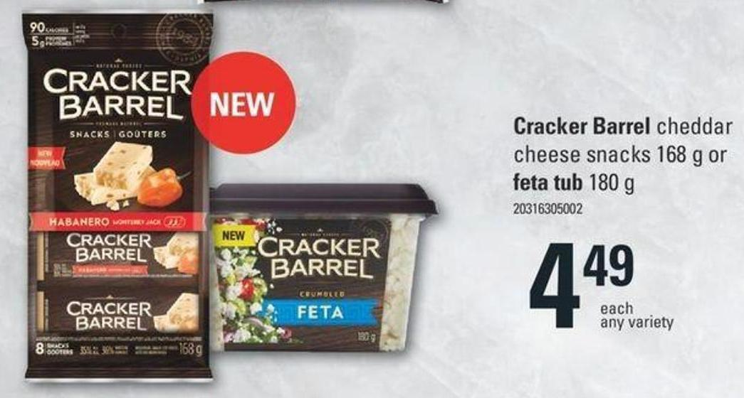 Cracker Barrel Cheddar Cheese Snacks 168 G Or Feta Tub 180 G