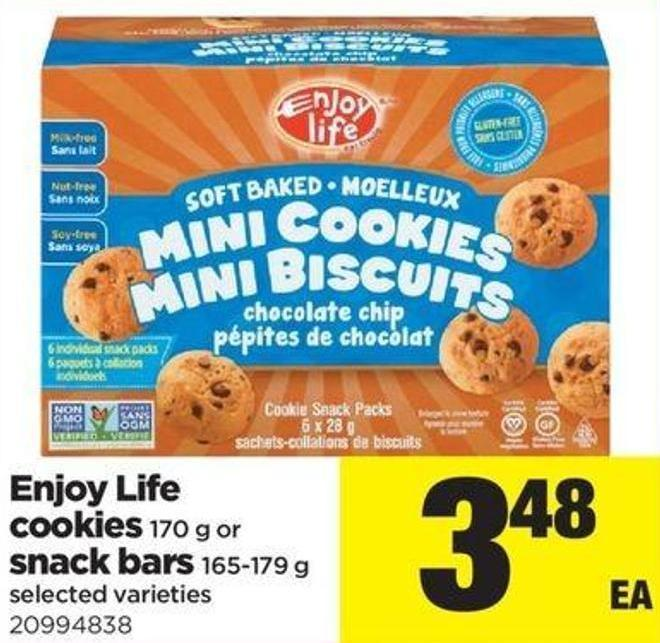 Enjoy Life Cookies - 170 G Or Snack Bars - 165-179 G