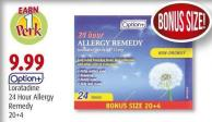 Option+ Loratadine 24 Hour Allergy Remedy 20+4