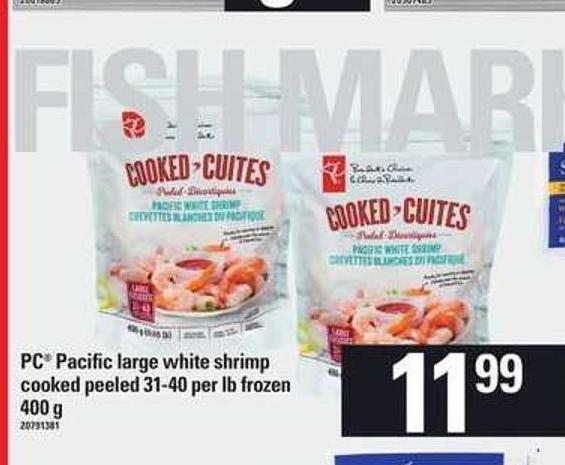 PC Pacific Large White Shrimp Cooked - Peeled 31-40 Per Lb - 400 G
